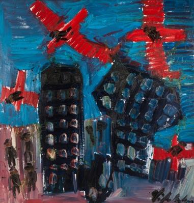Aerei rossi • 2007 • olio/acrilico/pigmento • cm 155x147