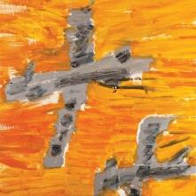 Aerei su cielo arancio • 2006 • olio/acrilico/pigmento • cm 100x100