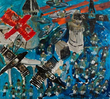 Aereo rosso • 2004 • olio/acrilico/pigmento • cm 143x147
