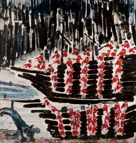 Approdo nel fiordo • 2001 • olio/acrilico/pigmento • cm 160x154