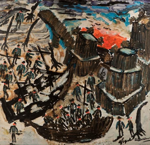 Barconi al castello • 2003 • olio/acrilico/pigmento • cm 145x150