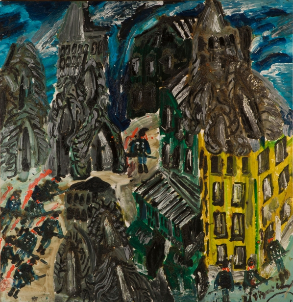 Casa gialla • 2003 • olio/acrilico/pigmento • cm 150x145