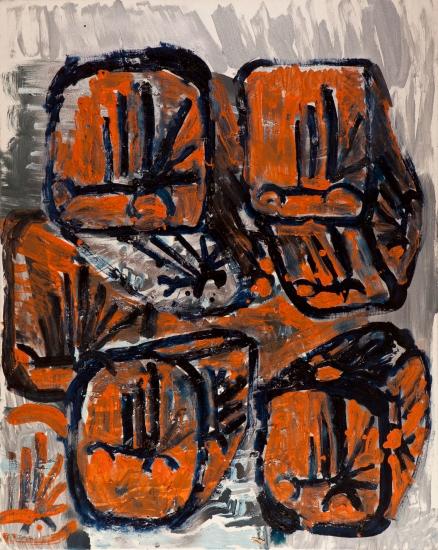 Cubi con dragoni • 1999 • olio:acrilico:pigmento • cm 100x80