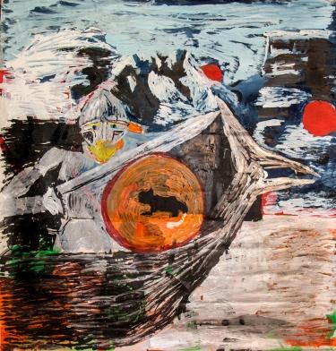 Il vichingo • 1998 • olio/acrilico/pigmento • cm 210x200