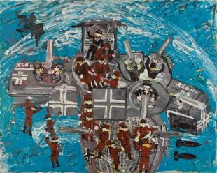 Macchina tedesca da guerra • 1999 • olio/acrilico/pigmento • cm 80x100