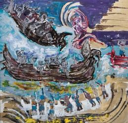 Piramide d'oro (navi vichinghe) • 1998 • olio/acrilico/pigmento • cm 200x210