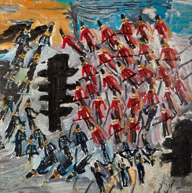 Soldati blu e rossi • 2004 • olio/acrilico/pigmento • cm 143x143