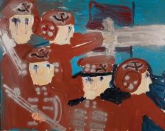 Soldati che piangono • 1999 • olio/acrilico/pigmento • cm 80x100