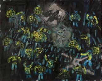 Soldati di notte • 1999 • olio/acrilico/pigmento • cm 80x100