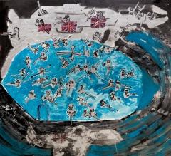 Soldati nella nave azzurra • 1998 • olio/acrilico/pigmento • cm 187x204