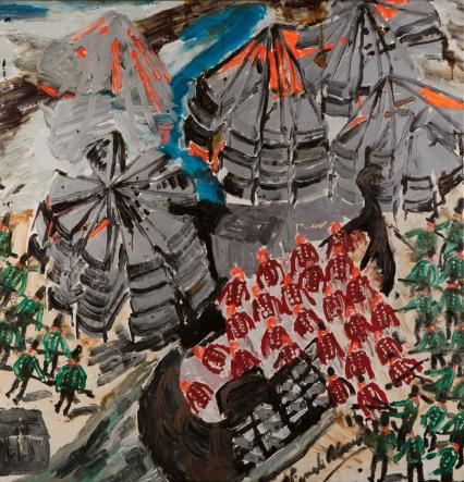 Strutture d'acciaio con soldati inglesi • 2003 • olio/acrilico/pigmento • cm 147x142