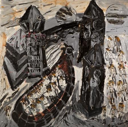 Torre nera con barca austriaca • 2008/olio/acrilico/pigmento • cm 152x152