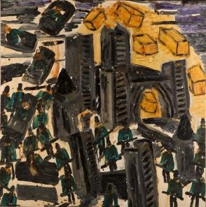 Torri assurde • 2001 • olio/acrilico/pigmento • cm 143x141