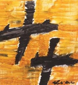 Aerei neri su cielo arancio - 2008 - Olio su tela - 112 x 102 cm