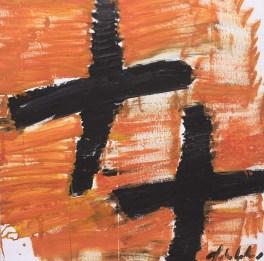 Aerei neri su cielo arancio - 2008 - Olio su tela - 118 x 118 cm