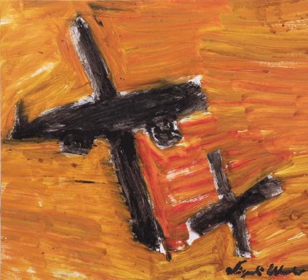 Aerei neri su sfondo arancione - 2006 - Olio su tela - 108 x 119 cm