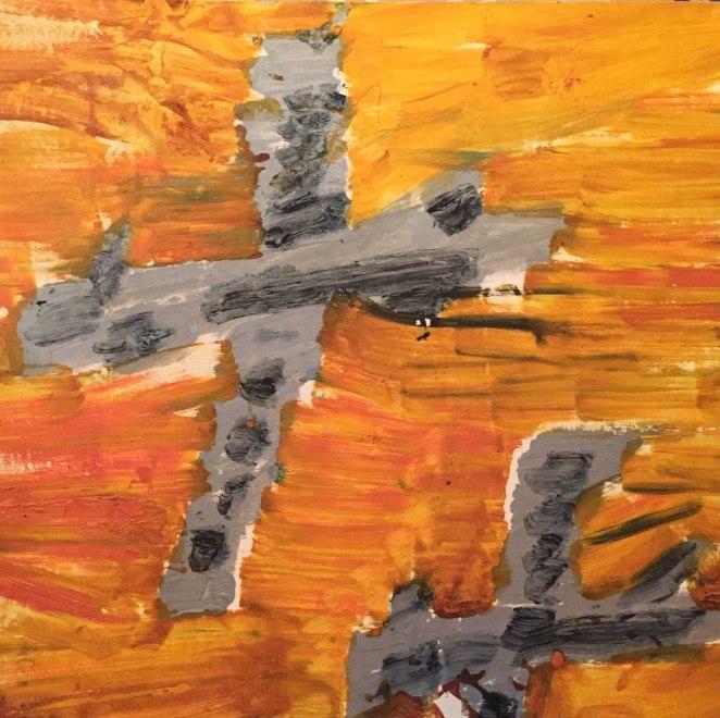 Alessandro Vignali - Aerei argento su cielo arancio - Olio siu tela - 2006