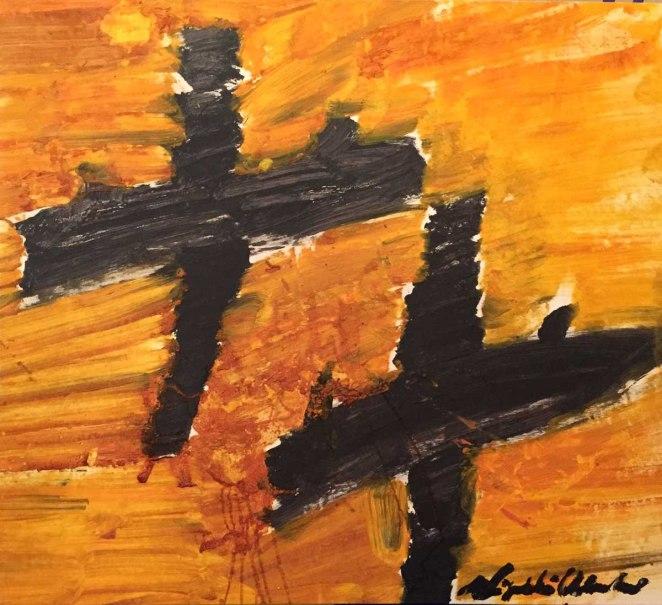 Alessandro Vignali - Aerei neri su cielo arancio - cm 102x112 - Olio su tela - 2008