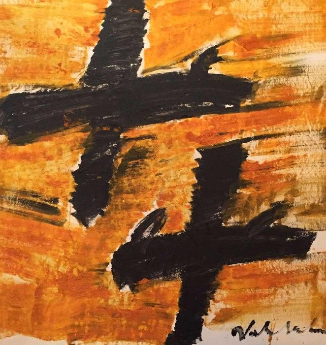Alessandro Vignali - Aerei neri su cielo arancio - cm 108x102 - Olio su tela - 2006