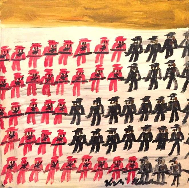 Alessandro Vignali - Guerra inglese blocco nordico - cm 100x100 - Olio su tela - 2016